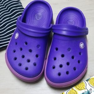 Purple crocs youth size 3 kids